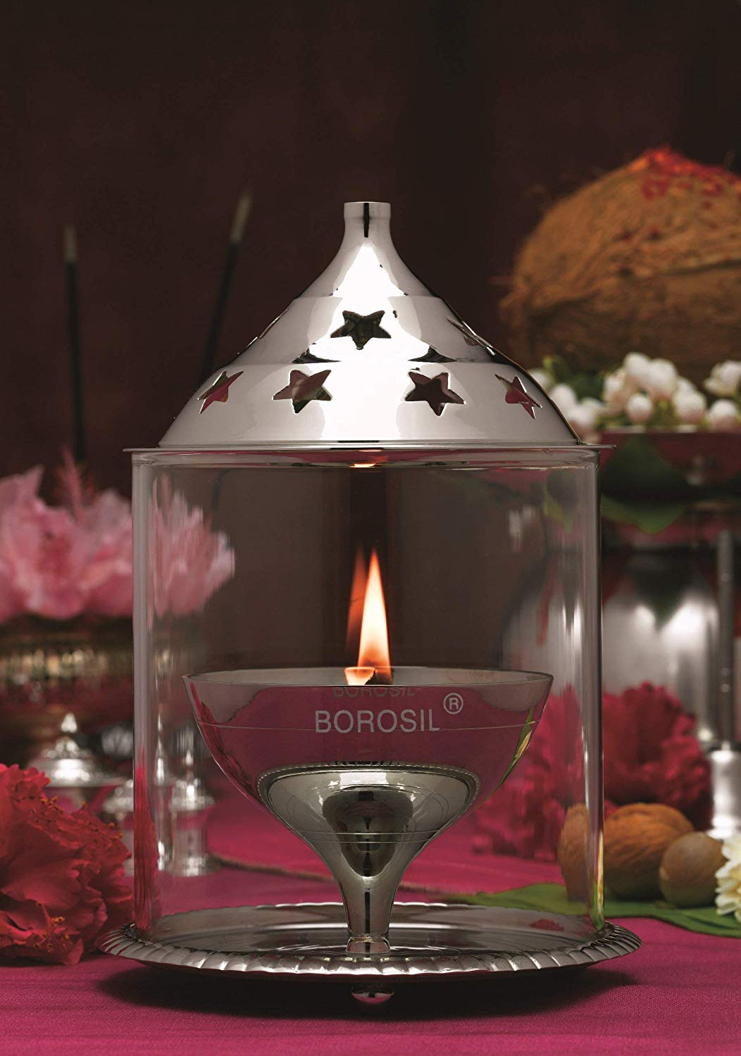 Borosil Akhand Diya (Small, Nickel)