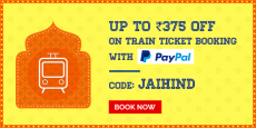 Book Railway tickets | Get Rs.375 cash back.